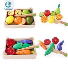 Wooden Kitchen Toys Cutting Fruit Vegetable Play miniature Food Kids Wooden baby early education food toys(China)
