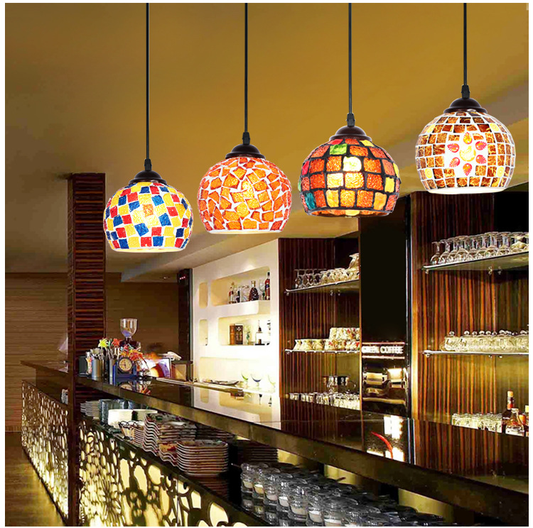 Artpad Creative Mediterranean Style LED Mosaic Pendant Lamp Retro Antique Bar Lamp Bohemia Hanging Lights for Hotel Dining Room<br>