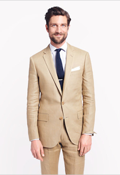2017 Khaki Tan Linen Man Suit For Beach Wedding Casual Mens Suits Custom Made Groomsman Wear Groom Tuxedos (Jacket+Pants)terno