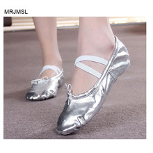 MRJMSL pls order according to CM in posting soft sole gold girls ballet shoes Women Ballet Dance Shoes indoor silver