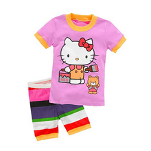 cute baby girl Summer t-shirt  and shorts set causal cartoon hello kitty set for 1-6yrs girls children leisure clothes set hot