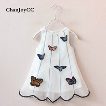 2017Summer hot sale new design children 's fashion dress girl prints butterfly dress(China)