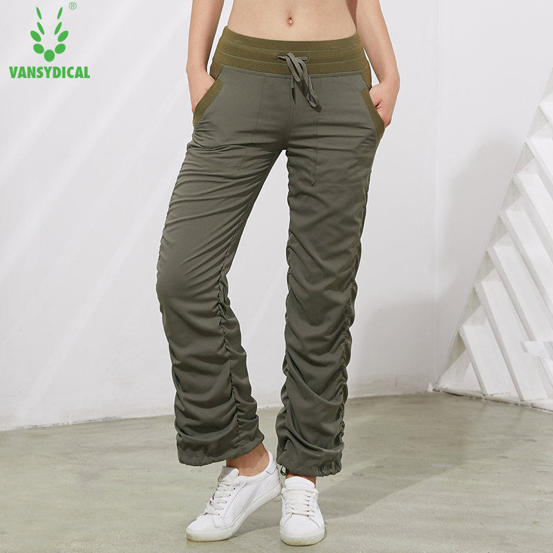 Sports trousers Female autumn/winter new straight tube loose on both sides fold rope casual pants Fitnes pants