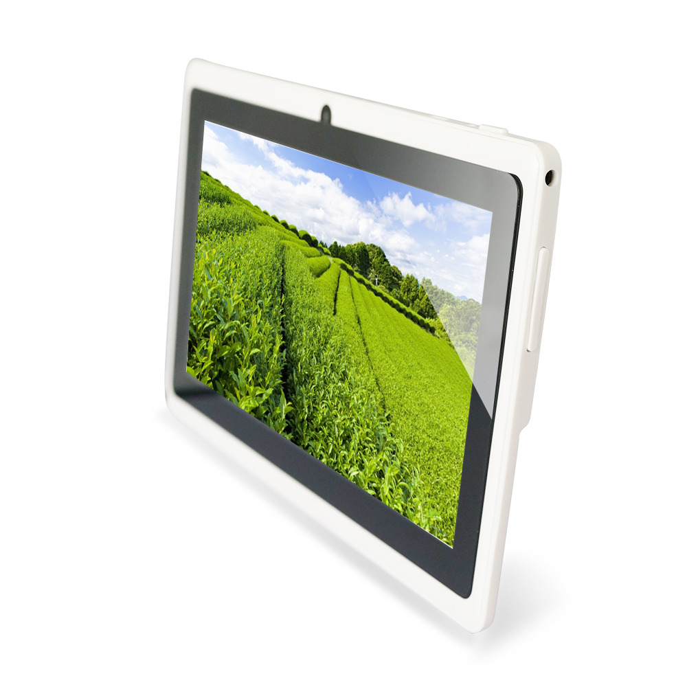 YUNTAB 7 inch white color Q88 Android4.4 Tablet PC Quad Core touch screen1024*600 with Dual Camera(add purple keyboard)