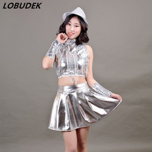 Silvery sequins tassels female suit Jazz Modern dancing costume Prom Teams stage performance clothing Cheering squad stage wear(China)