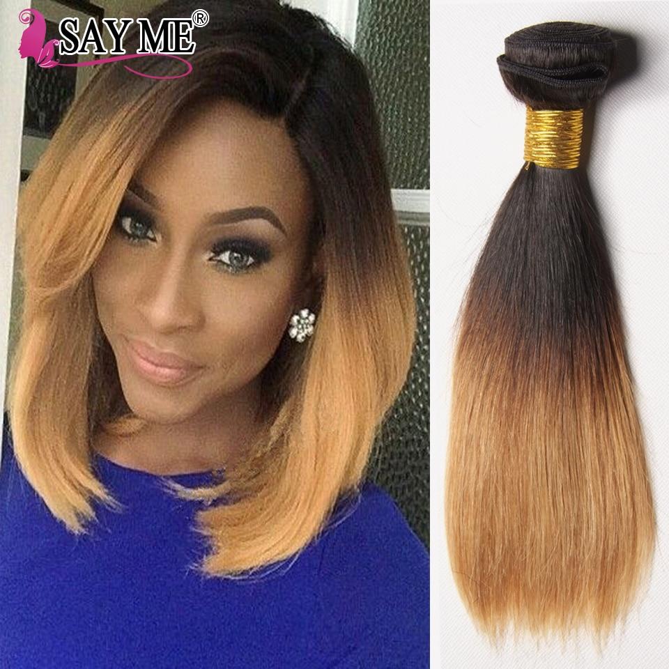 10inch 2 Tone Ombre Brazilian Straight Virgin Hair 4 Bundles Cheap 1b 27 30 Ombre Straight Human Hair Weave Short Hair Extension<br><br>Aliexpress