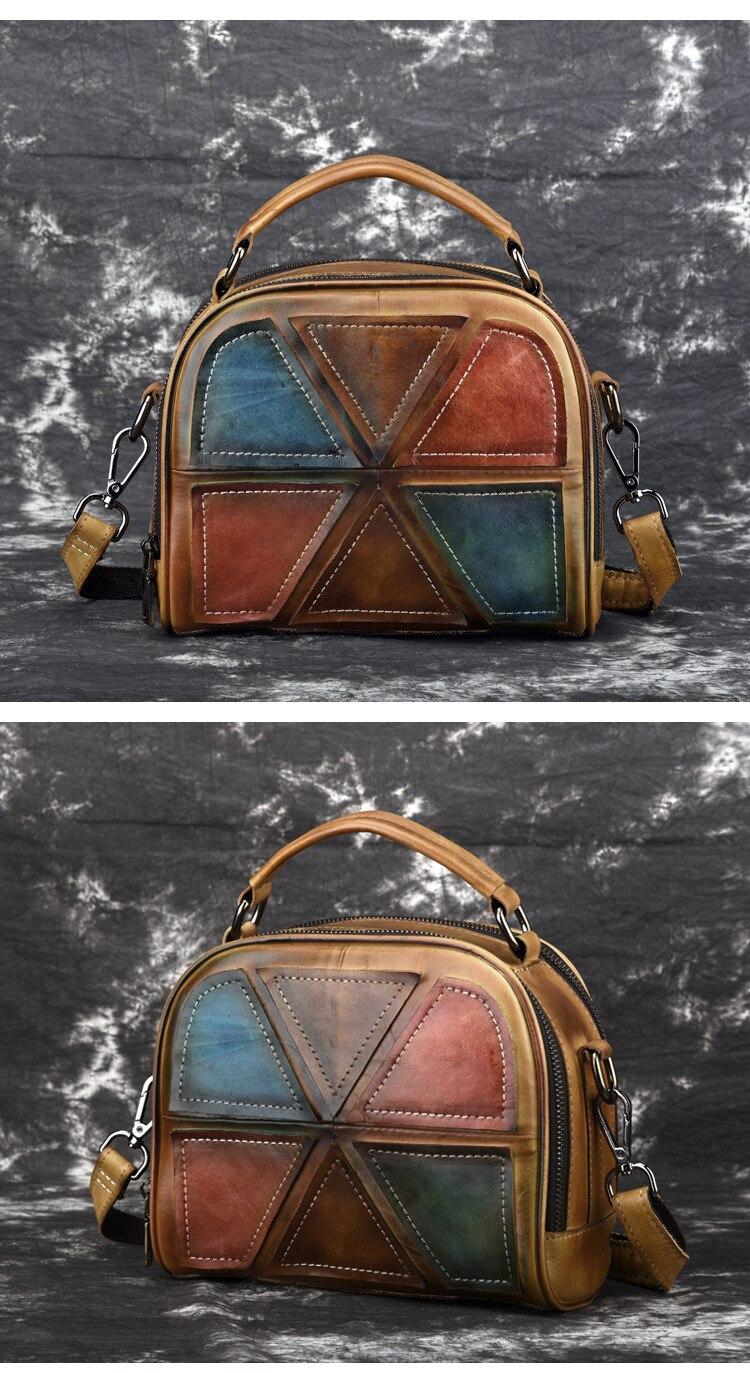 Woman Handmade Vintage Genuine Leather Handbags Ladies Retro Shoulder Messenger Bag Tanned Leather Hand-printed Womans Bag 5