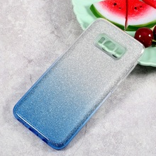 Cover for Galaxy S8 SM-G950 Bag 2-Piece Gradient Glittery Powder TPU + PC Mobile Back Casing for Samsung Galaxy S8 Shell Fundas