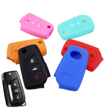 3 Button Silicone Flip Key Cover Fit For Toyota Auris Corolla Rav4 Avensis Yaris Verso Aygo Remote Case Fob Shell 2014 2015-2017(China)