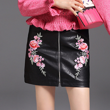 Buy 2017 Autumn Short Leather Skirt Women High Waist Embroidery Mini Skirt Black Sexy Zipper Jupe Femme Saia for $15.80 in AliExpress store
