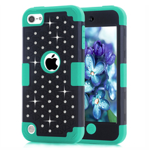 For Apple iPod Touch 5 Rhinestone Bling Shockproof Heavy Duty Rubber Armor Three Layer Protective Case For iPod Touch 5