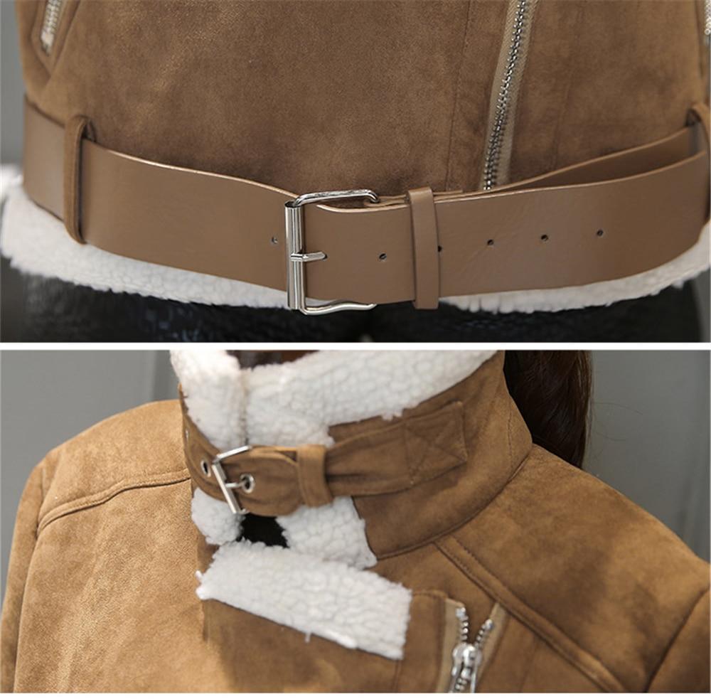 Wmwmnu 2017 autumn winter women suede leather jacket coat fashion Lambs wool women outwear casual High quality short parkas s541