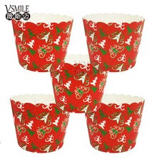 50pcs/bag New Red Background Colorul Pine tree Christmas Sauta Gifts Design Christmas Paper cake cup Baking cake cup