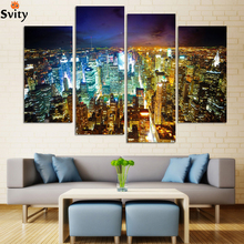 Fashion City Night 4 Panels/Set Large HD Picture Canvas Print Painting Artwork Wall Decorative Oil painting Unframed F111