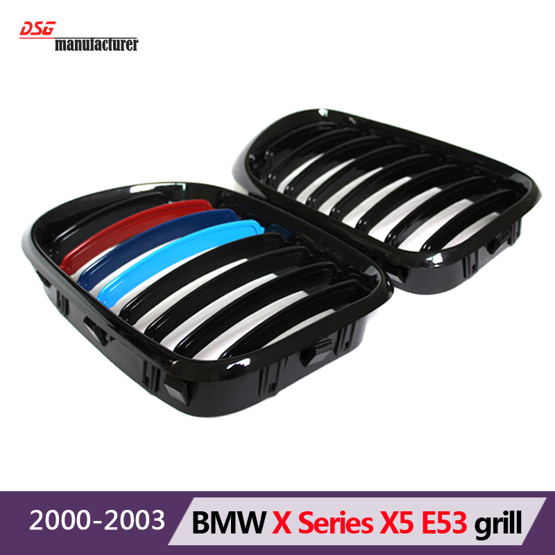 2000 - 2003 1-slat matte gloss black m color replacement front hood grill grille fit for X5 e53 pre-facelift bumper car styling<br><br>Aliexpress