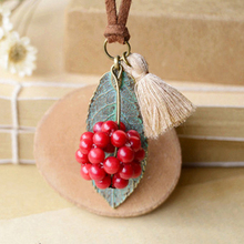 Fon Xee Red Berries Green Leaf Creamy Tassels Necklace Vintage Long Wax Rope Necklaces Harvest Costume Jewellery nxl057
