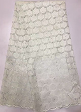 SYL376(1)White!Fashion mesh embroidered pattern best net African lace fabric for sewing french lace material with stones,5 yards