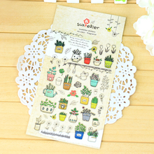 Fragrant potted DIY Kawaii sticker 1 sheet high quality South Korea self adhesive scrapbook epoxy sticker design about gardening(China)
