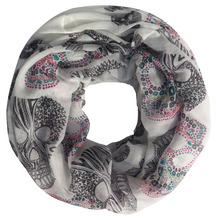 Women's Sugar Skull Print Scarf Infinity Loop Snood Scarves Accessories, Free Shipping