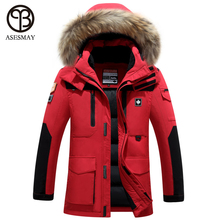 2016 Brand Down Jacket Men Winter White Duck Down Coat Military Hooded Coat Natural Raccoon Thick Warm High Quality Men Parkas(China)