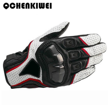 QCHENKIWEI Hot Motorcycle Gloves Mens Perforated Leather Mesh Racing Motocross Motorbike Gloves Black Red White(China)