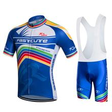 Fastcute 2017 Cycling Clothes Men Summer Short Sleeve Bicycle Clothes Maillot Ciclismo Cycling Skinsuit Jersey + Shorts Kit(China)