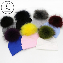 GZHILOVINGL 5 Months-2 Years Ins Hot Kids Big Real Fur Pom Pom Hats Baby Boys Girls Toddler Winter Warm Cotton Knit Beanie Hat