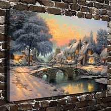 H1151 Thomas Kinkade Cobblestone Christmas , HD Canvas Print Home decoration Living Room Bedroom Wall pictures Art  painting