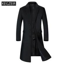 KEGZEIR 2019 Winter Long Trench Coat Wool Casual Overcoat For Men Slim Woolen Thick