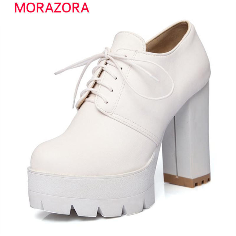 MORAZORA Lace-up women pumps party shoes solid pu high heels shoes fashion contracted platform shoes spring autumn <br><br>Aliexpress