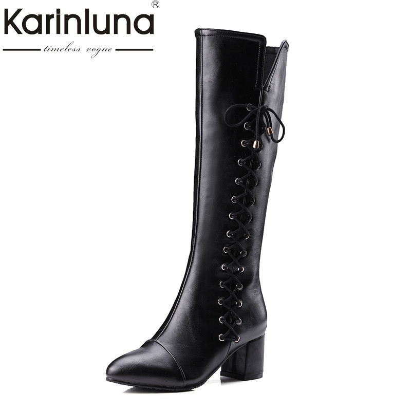 KARINLUNA 2017 Large Size 33-43 Customized Top Quality Women Shoes Lady Fashion Square Heels Riding Boots Winter Pointed Toe<br>