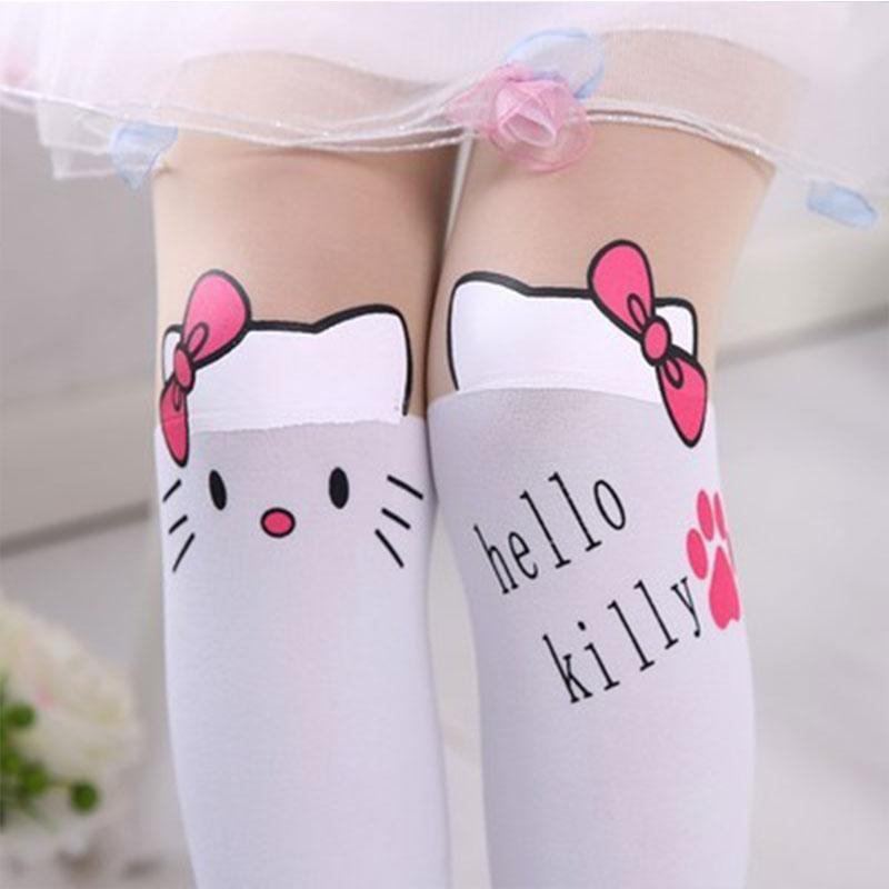 Summer Baby Kids Girls Thin Leggings Knee Cute Cartoon Patchwork Velvet Stocking white Cartoon Kitty Cat Leggings 3-9Y 19