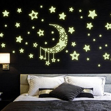 Small Starry Sky House Luminous Wall Stickers Removable Cartoon Decorative Bedroom Kitchen Wall decor DIY Home Decoration