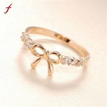 Korean Style Hot Sale Headwear jewelry Women Girls Simple Crysta bow shape rings Gold Silver(China)