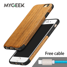 MyGeek Wood Cover Luxury Mobile Phone Case for iphone 5 5s 6 6s 7 plus phone Case with 1 pcs Cable Free(China)
