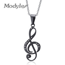 Modyle Musical Note Pendant Necklace Men Jewelry Trendy Gold/Black Plated CZ Stone Necklace(China)