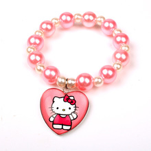12pcs/lot Hello Kitty Pearl Pink+White Beads Bracelet With Heart Pendant Charm For Kids Birthday Festival Gift Favor