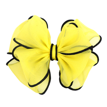 Buy 1Pcs New Chiffon Handmade Big Bows Solid Hair Clips Girls Hand Sewn Flower Headwear Hair Accessories 5 inches Handicrafts for $1.15 in AliExpress store