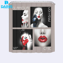DARIS Fabric Polyester Sexy Red Lips Waterproof Shower Curtain Thicken Curtain Bathroom Curtain(China)