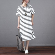 2017 Korean Style Summer Women Big Size Dress Classical Round Neck Striped Cotton Vestido Short Sleeve Casual Loose Shirt Dress
