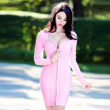 Modphy 2017 New Women Black Pink Long Full Sleeves Bandage Dress Rayon Front Split Evening Party Mini Dresses Drop Ship HL740