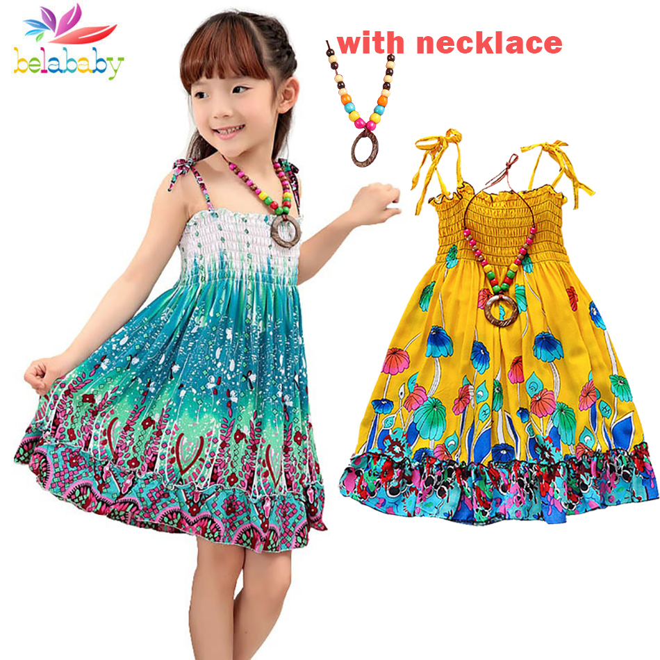 Belababy Summer Bohemian Beach Girls Dress With Beading Necklace Sundress Floral Sling Dress For Girl Vestido Infantil