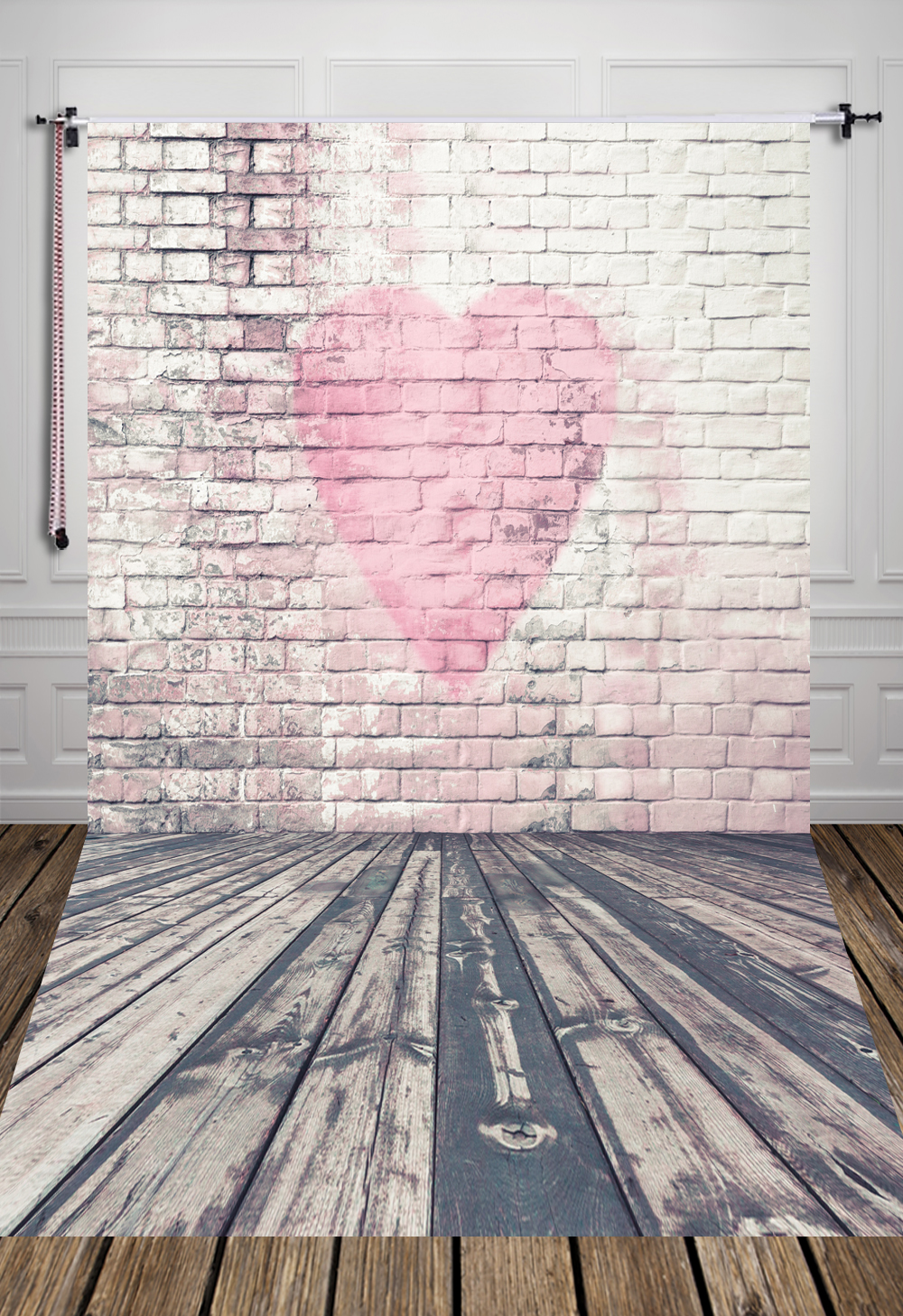 pink bricks and wood floor photography background made of  Art fabric painted pink heart for studio newborn D-1496<br><br>Aliexpress
