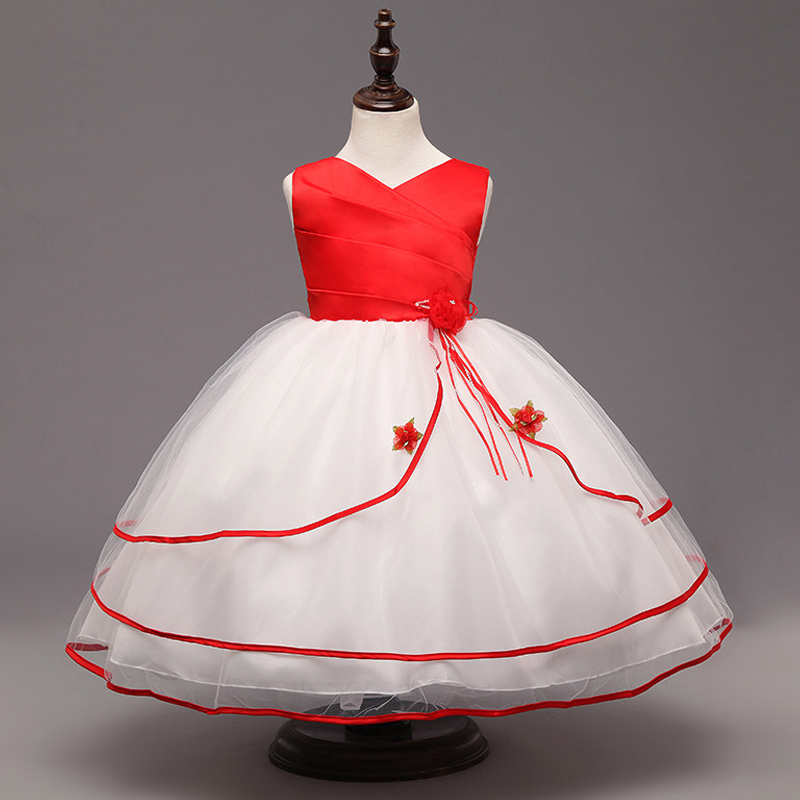 2016 New Lace Tulle Flower Girl Dress Princess Long evening Bridesmaid Gown Party Wedding Girls Bow Dresses Sleeveless for 2-10Y<br>