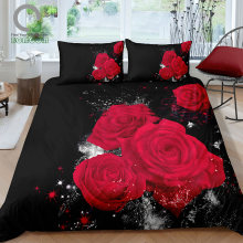 BOMCOM 3D Digital Printing Close up Valentines Day Roses Bouquet Black Background Wedding Gift Bedding Set 100% Microfi(China)
