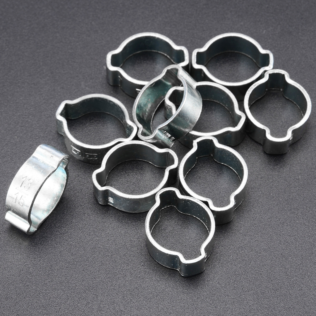 10pcs Hose Clamp Tool Double Ears Worm Drive Fuel Water Hose Pipe Clamps Clips for Pipe Clamp