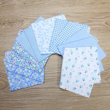 Wholesale Price 7Pcs Blue 100% Cotton Fabric for Sewing DIY Quilting Patchwork Kids Bedding Textile Doll Cloth Crafts 25*25cm