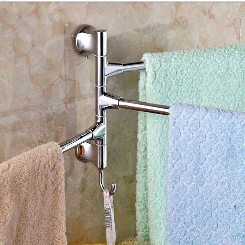Newly US Free Shipping Swivel Chrome Brass Bathroom Towel Rack Holder Swivel 3 Towel Bars W/ Hanger<br>
