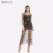 Buy ROPALIA Embroidery Flower Casual Dress Summer Two Piece Mesh Long Maxi Sexy Dresses Women Vestidos for $17.93 in AliExpress store