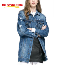 2017 New fasion spring autumn women coats jeans jacket women patches long basic jackets women denim Try everyting